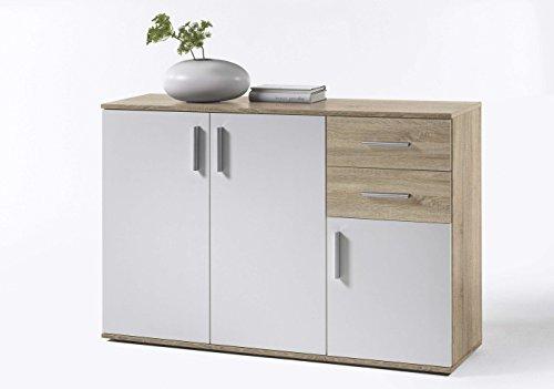 AVANTI TRENDSTORE - BEA - Comò e cassettiere, in Legno Laminato e Bianco, Disponibile in 2 Diversi Colori e 3 Diverse Dimensioni (Quercia Sonoma - Bianco, 120x82x35 cm)