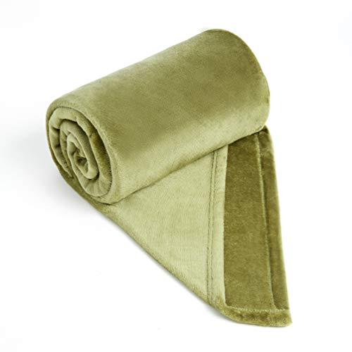 COCOPLAY W Army Green Throw Blanket, Flannel Fleece 50×60...