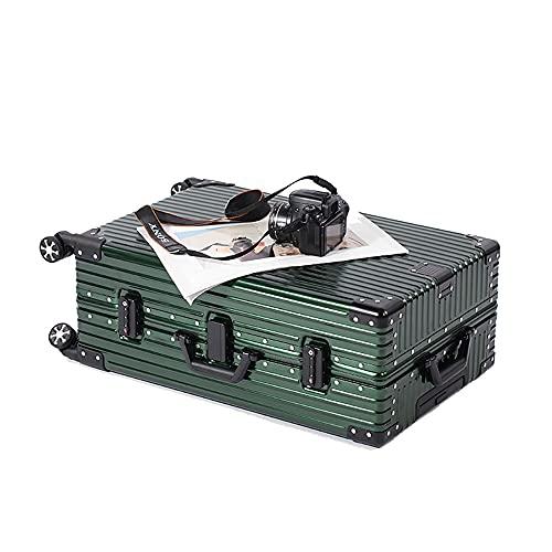 SGCDKSP Bagagli Uomini e Donne in Lega di Alluminio Trolley Custodia con Password da Viaggio,Verde,32 inch