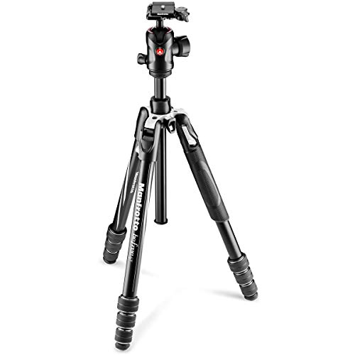 Manfrotto MKBFRTA4GT-BHUS Befree Advanced Travel Tripod, Twist Lock with Ball Head for Canon, Nikon, Sony, DSLR, CSC, Mirrorless, Up to 10 kg, Lightweight with Tripod Bag, Aluminium, Black/Silver