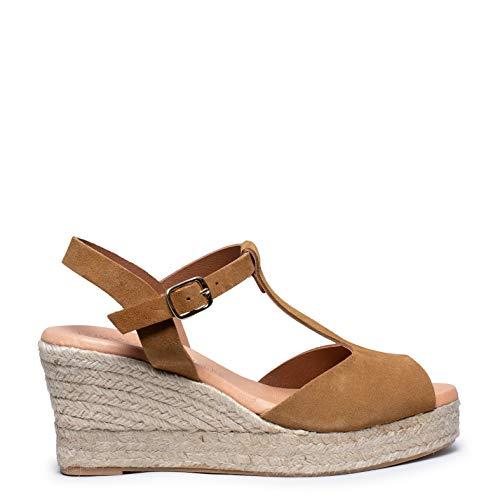 Zapatos miMaO. Zapatos Piel Mujer Hechos EN ESPAÑA. Cuñas Esparto Mujer. Sandalias Plataforma. Zapato Cómodo Mujer con Plantilla Confort Gel