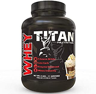 Titan WHEY Premium Whey Protein Powder for Improved Muscle Recovery with 23 Grams of Clean Whey Protein |BCAA and Digestive Enzymes| (Toffee Machiato, 5 lb)