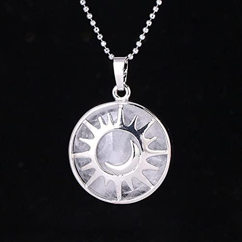 YQMR Collares con Colgantes De Piedra para Mujer,7 Chakras Damas Cristal Semiprecioso Natural Romántico Plata Cristal Blanco Cadena De Clavícula Día De Cumpleaños O La Fiesta
