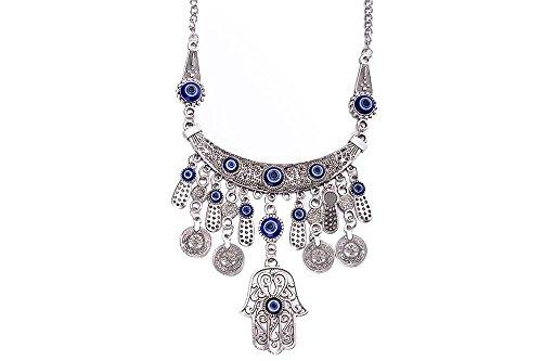 Overdreven Retro Turquoise Holle Tassel Coin Hanger Ketting, blauw & antiek zilver