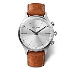 Brown Leather strap Stainless-steel case, Silver dial Quartz movement Case diameter: 41mm Water resistant: 100m