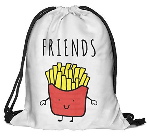 Beutel Beste Pommes frites Aufdruck Fullprint Tasche Gymsac Turnbeutel Jutebeutel Print Bag Fitness [010]