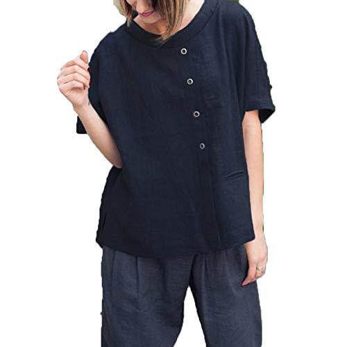 SLYZ Seoras Verano Moda Casual Abotonado Camisa De Manga Corta Cuello Redondo Costura Color Slido Camiseta Mujer