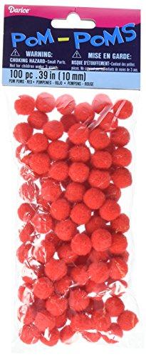 "Pom Poms .25"" 100/Pkg-Red"