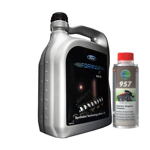 Olio Motore Compatibile con Ford Formula F 5W30 5 Litri + Tunap 957 per la Pulizia del Motore e dell'impianto di lubrificazione - 155D3A + A1570200