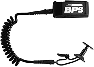 BPS 'PRO' Coiled Bodyboard Leash with Leash Plug - with Double Swivels (Black)