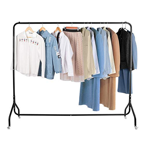 Voilamart Metal Clothes Rail 6FT Heavy Duty Garment Hanging Display Rack Commercial Clothes Stand on Wheels Lockable, Black
