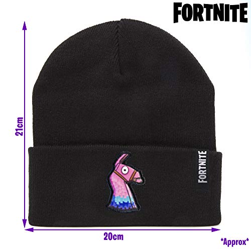 Fortnite Beanie Hat For Boys Girls Teens, With Embroidered Fortnite LLama Logo, Black Warm Winter Hats, Battle Royale Official Merchandising, Fortnite Gifts For Boys Girls Teenagers