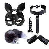 Couple Adulte Bondage Furry Plug Queue PU Bandeau Jouets Kit Pour Débutant 4 Pièces
