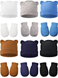 12 Sets Newborn Cotton Hospital Hat Mittens Baby Beanie Solid Infant Baby Hats with Ear and No Scratch Mitten Soft Gloves (White, Blue, Gray, Navy Blue, Brown, Black)
