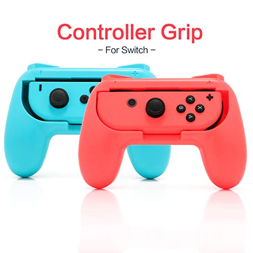 Grip Kit for Nintendo Switch Joy Con Controller, Nintendo Switch Accessories Joy Con Grip - BlueRed (2 Pack)