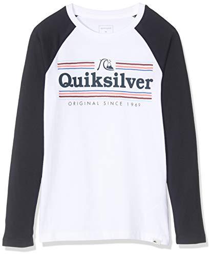 Quiksilver EQBZT04041 T-Shirt Manches Longues Garçon, White/Sky Captain, FR : XL (Taille Fabricant : XL/16)