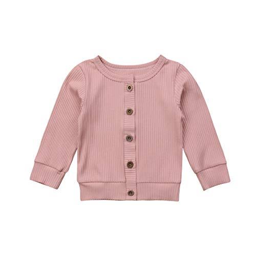 Loalirando Baby Mädchen Strickjacke Frühling Jacke Cardigan mit Knöpfen (0-3 Monate, Rosa)