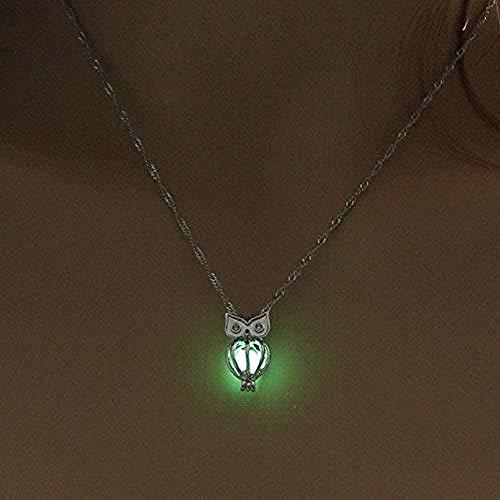 Collar, collar de piedra luminosa, botella para mujer, que brilla en la oscuridad, colgante, collar, joyería plateada en plata
