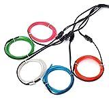 EL-Drähte,JINQIU 5×1M Fünf-Farben Neon EL Wire Draht Leuchtschnur Kabel Lichtschnur,Beleuchtung...