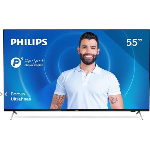 Smart TV Philips 55PUG7625 4K UHD, P5, HDR10+ , Dolby Vision, Dolby Atmos, Bluetooth, WiFi, 3 HDMI, 2 USB - Preto Bordas ultrafinas