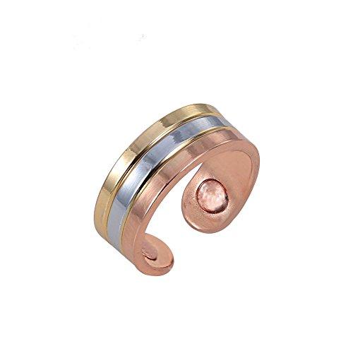 Eleganter Mehrfarbiger Magnetring aus Kupfer und Edelstahlelementen Tricolor flexibel in der Größe Energetix 4you 3034