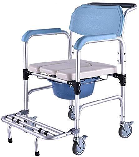 TIN-YAEN Badezimmer Rollstühle, Bad Stuhl, Duschstuhl, Mobil Rollstuhl Rückenlehne, WC, Rollstuhl, gefederter Sitz - geeignet for ältere Menschen, schwangere Frauen, Kinder, Menschen mit Behinderungen