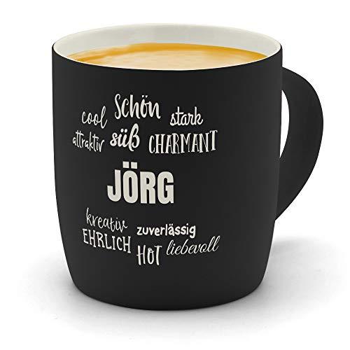 printplanet - Kaffeebecher mit Namen Jörg graviert - SoftTouch Tasse mit Gravur Design Positive Eigenschaften - Matt-gummierte Oberfläche - Farbe Schwarz