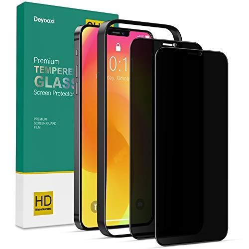 Deyooxi 2 Stück Panzerglas Sichtschutz Kompatibel mit iPhone 12/iPhone 12 Pro,3D Full Screen Glas Blickschutzfolie mit Positionierhilfe,Privacy Panzerglasfolie Schutzfolie,Anti-Spy Displayschutz Folie