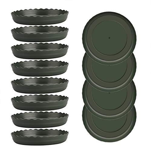 æ— Platillo para plantas de 13,5 cm, paquete 24 platos plástico verde goteo plantas, platillos redondos duraderos interior y exterior, macetas, atrapar el agua