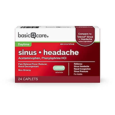 Amazon Basic Care Sinus + Headache, Pain Reliever/Fever Reducer (Acetaminophen), Nasal Decongestant (Phenylephrine Hcl), 24Count