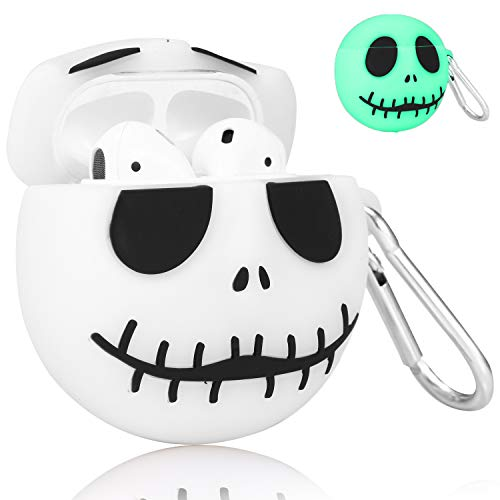 Joyleop(Luminous Skull) Compatible with Airpods 1/ 2 Case Cover, 3D Cute Cartoon Funny Fun Cool Kawaii Fashion Chic, Silicone Airpod Character Design Skin Keychain,Girls Boys Teens, Case for Air pods