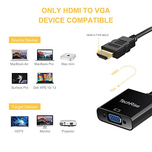 HDMI to VGA, TechRise Gold Plated High-Speed 1080P Active HDTV HDMI to VGA adapter Converter Male to Female with Audio and Micro USB Charging Cable