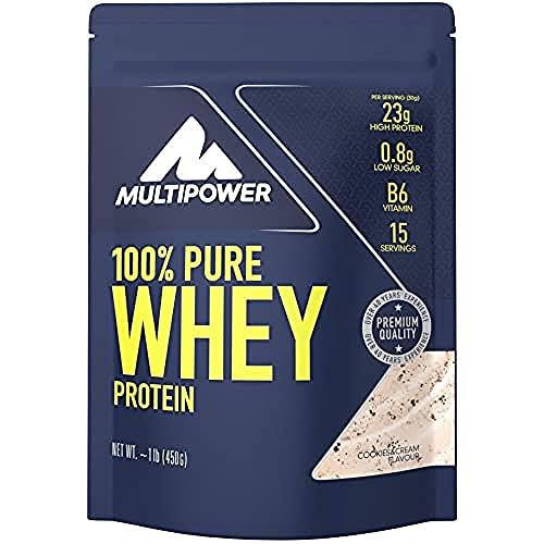 Multipower 100% Pure Whey Protein - Fino a 80% di Proteine del Siero del Latte - Proteine Isolate come Fonte Principale - 15 Porzioni - Per lo sviluppo Muscolare - 450 g - Gusto Cookies&Cream