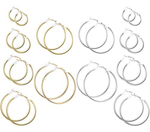 Udalyn 12 Pairs Clip on Earrings for Women Stainless Steel Fashion Clip on Hoop Earrings Non Piercing Earrings Jewelry Set, 6 Sizes