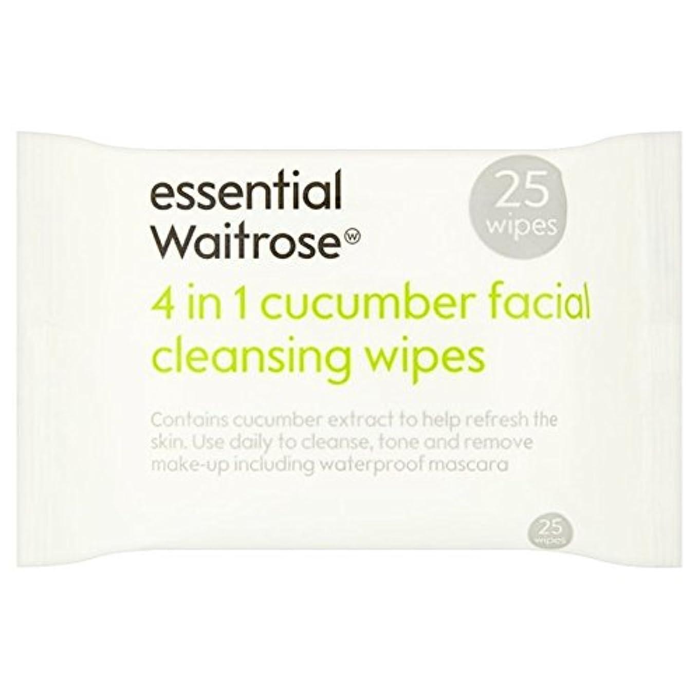 従順くそー驚きキュウリ顔のワイプパックあたり不可欠ウェイトローズ25 x4 - Cucumber Facial Wipes essential Waitrose 25 per pack (Pack of 4) [並行輸入品]