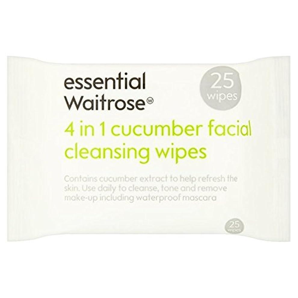 厚さ天の確かめるキュウリ顔のワイプパックあたり不可欠ウェイトローズ25 x2 - Cucumber Facial Wipes essential Waitrose 25 per pack (Pack of 2) [並行輸入品]