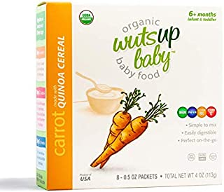 8x Organic Quinoa Infant & Baby Cereal Travel Packs w/Naturally Occurring Omega 3, 6, 9 Protein, Iron, Magnesium, B2. Easiest First Foods to Digest. By WutsupBaby –4oz(8packx0.5oz) (Carrot)