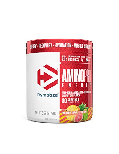 Dymatize AminoPro + Energy Endurance Amplifier Powder, Reinforced with Caffeine, Electrolytes & Amino Acids, Pineapple Guava, 9.52 Ounce