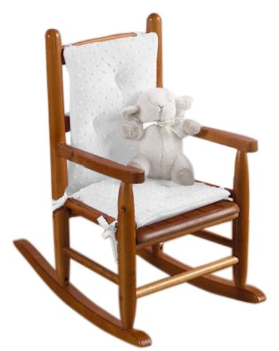 Baby Doll Bedding Heavenly Soft CHILD Rocking Chair Cushion Pad Set, White (Chair is not included with the product)