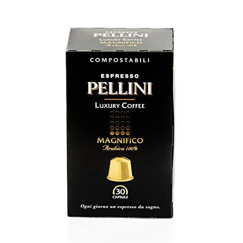 Pellini Caffè Espresso Luxury Coffee Magnifico, Capsule Compatibili Nespresso, Compostabili e Autoprotette, 1 Astuccio da 30 Capsule