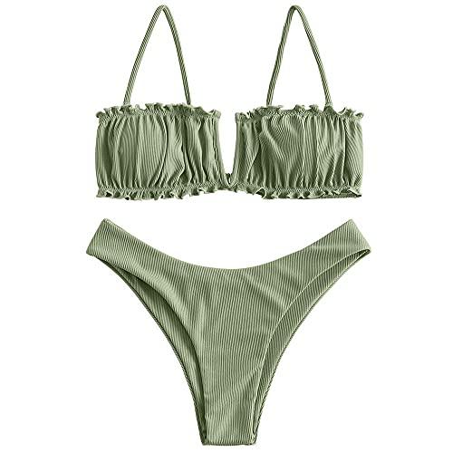 ZAFUL Women's V-Notch Ribbed Bikini Ruched Bandeau Bikini Ruffle High Cut Swimsuit Two Piece Swimwear