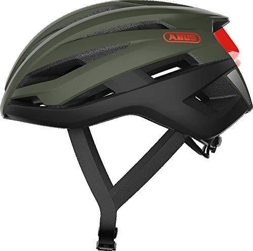 ABUS Rennradhelm Stormchaser - Leichter und komfortabler Fahrradhelm für professionellen Radsport - für Damen und Herren - Olivgrün, Größe M