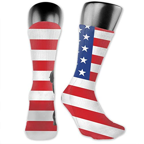 Calcetines de anime perro en la bandera americana lleva gafas de sol sí suaves de secado rápido transpirable calcetines deportivos unisex de la tripulación calcetines de 39,7 cm
