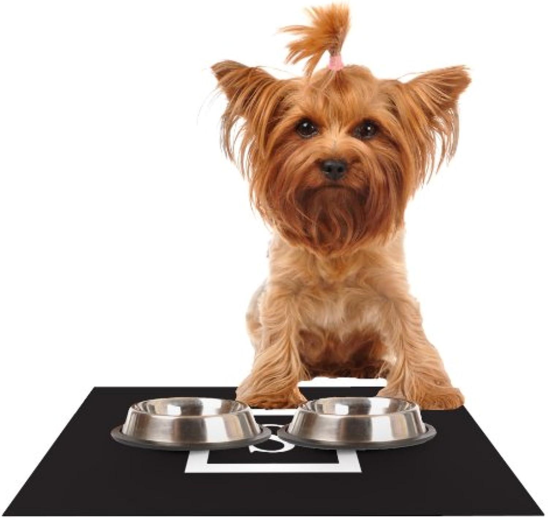 KESS InHouse Kess Original Monogram Solid Black Letter S  Feeding Mat for Pet Bowl, 18 by 13Inch