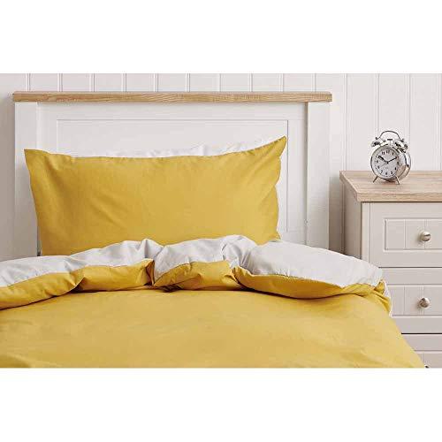 wilko Ochre and Grey Reversible Single Duvet Set (135 x 200cm), Plain Reversible Bedding Set with Matching Pillowcase
