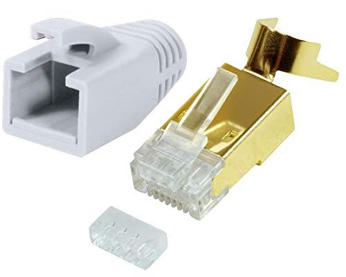 odedo 10er Pack Crimpstecker CAT 7 7A, CAT 6A CAT 8.1 Verlegekabel bis 8mm 10GBit Gigabit Ethernet starre, Flexible Adern 1.2mm-1.45mm AWG 22-24 RJ45 Netzwerk Stecker geschirmt vergoldet (Weiß)