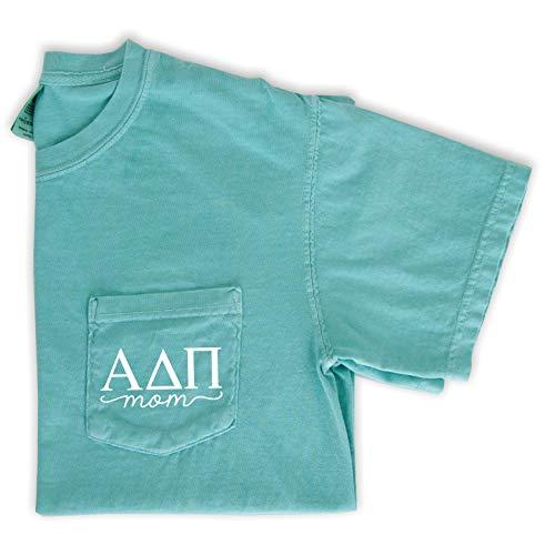 Alpha Delta Pi Mom Shirt | Sorority Comfort Colors Pocket Tee (Large) Mint