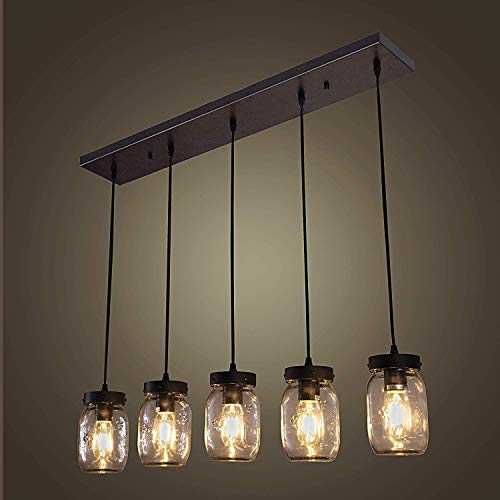 Wellmet Farmhouse Chandelier Glass Mason Jar Adjustable, 5-Lights Dining Room Lighting Fixtures Hanging Rustic Chandeliers with Wires for Kitchen Island Dining Room Living Room Cafe Pub