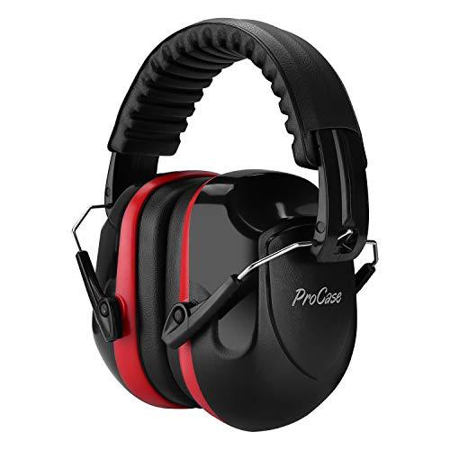 ProCase Casque Anti Bruit Pliable Réglable Confortable Adulte, avec Une Atténuation de 26dB, Serre-tête Souple pour Milieu Bruyant ou Stressant-Noir et Rouge