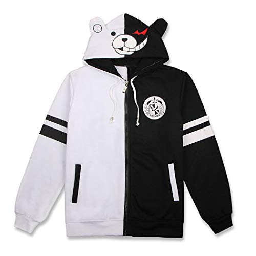 Funnyparty Black White Bear Hoodies Anime Danganronpa Monokuma Jacket Zipper Cosplay Costume Unisex